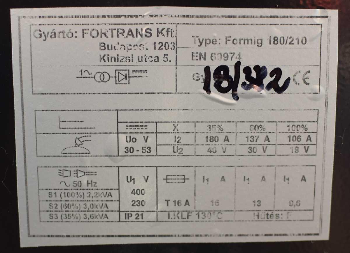 formig 180 210 trafos co hegesztogep 2 Fortrans kft hegesztestechnika es transzformatoros hegesztogep